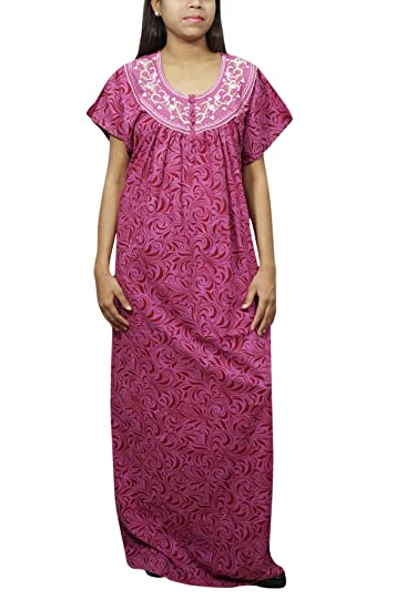 Indiatrendzs Womens Nightdress Printed Lizzy-Bizy Nightgown Purple   Amazon.in  Clothing   Accessories f23222cd2
