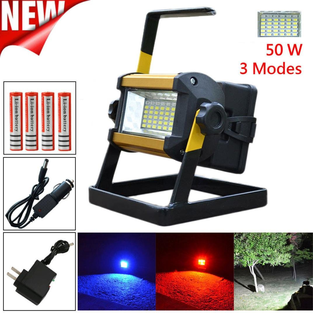Led Flood Light, Napoo Portable 50W 36 LEDWaterproof Rechargeable Worklight Spot Work Lamp Emergency Light For Outdoor Camping, Working, Fishing