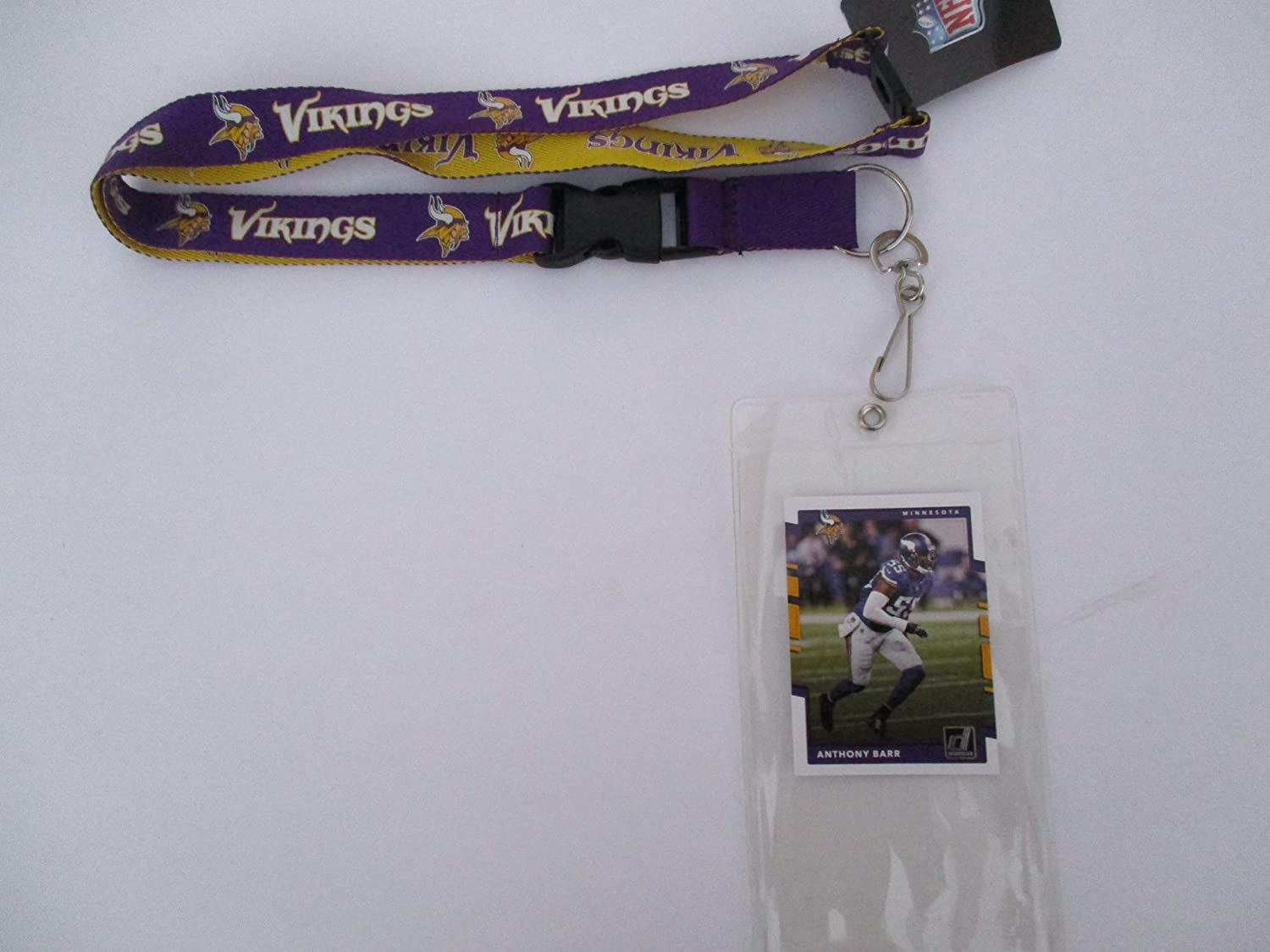 MINNESOTA VIKINGS PURPLE & GOLD TWO TONE LANYARD WITH TICKET HOLDER PLUS COLLECTIBLE PLAYER CARD