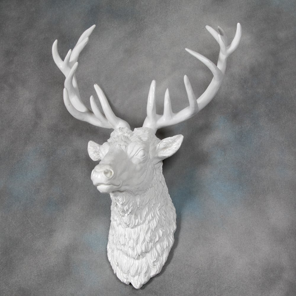 Large Deer Stag Head Wall Mount   Pure White   Beautiful Wall Art   Stag  With Antlers   Resin: Amazon.co.uk: Kitchen U0026 Home