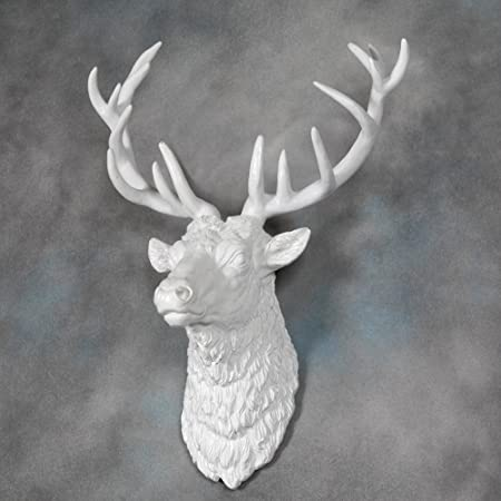 Large Deer Stag Head Wall Mount - Pure White - Beautiful Wall art - Stag with & Large Deer Stag Head Wall Mount - Pure White - Beautiful Wall art ...