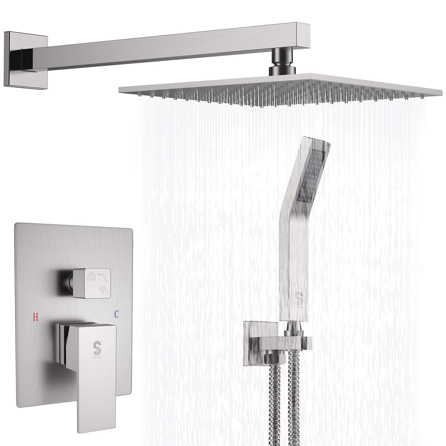 SR SUN RISE Brass Shower System 10 Inch Bathroom Luxury Rain Mixer Shower Combo Set Wall Mounted Rainfall Shower Head Systems Brushed Nickel Finish