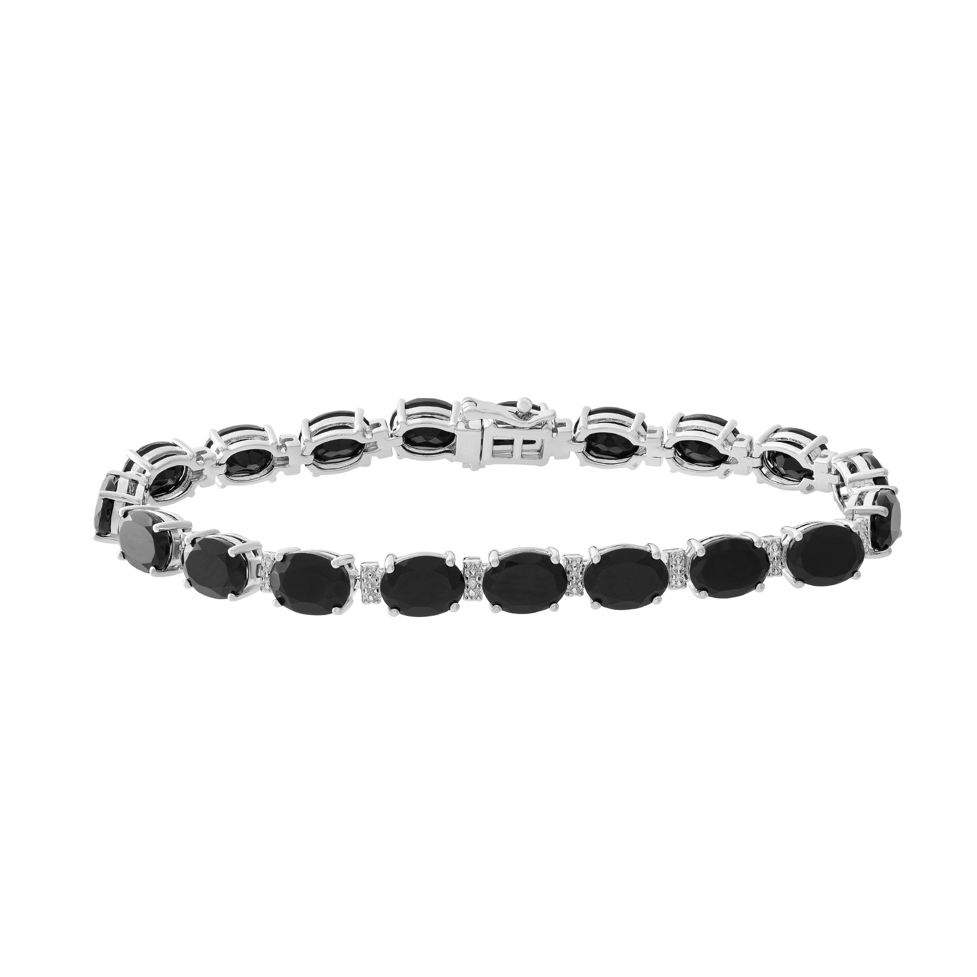 """Brilliant Designers 20 CT Onyx & Diamond Accented Oval Bracelet Crafted In Sterling Silver 7"""""""