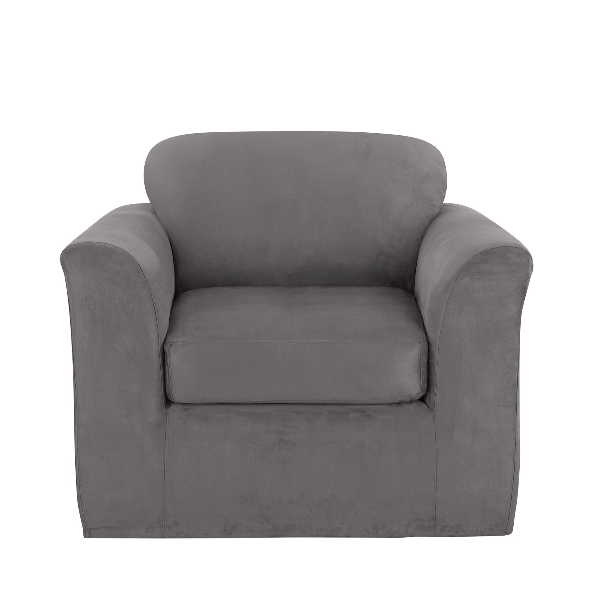 Sure Fit Ultimate Heavyweight Stretch Suede Chair Slipcover, Box Cushion - Slate Gray