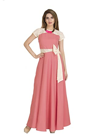 e3106a0d1c2 Raas Prêt Women s Crepe Lace Full Length Maxi Dress Gown  Amazon.in ...
