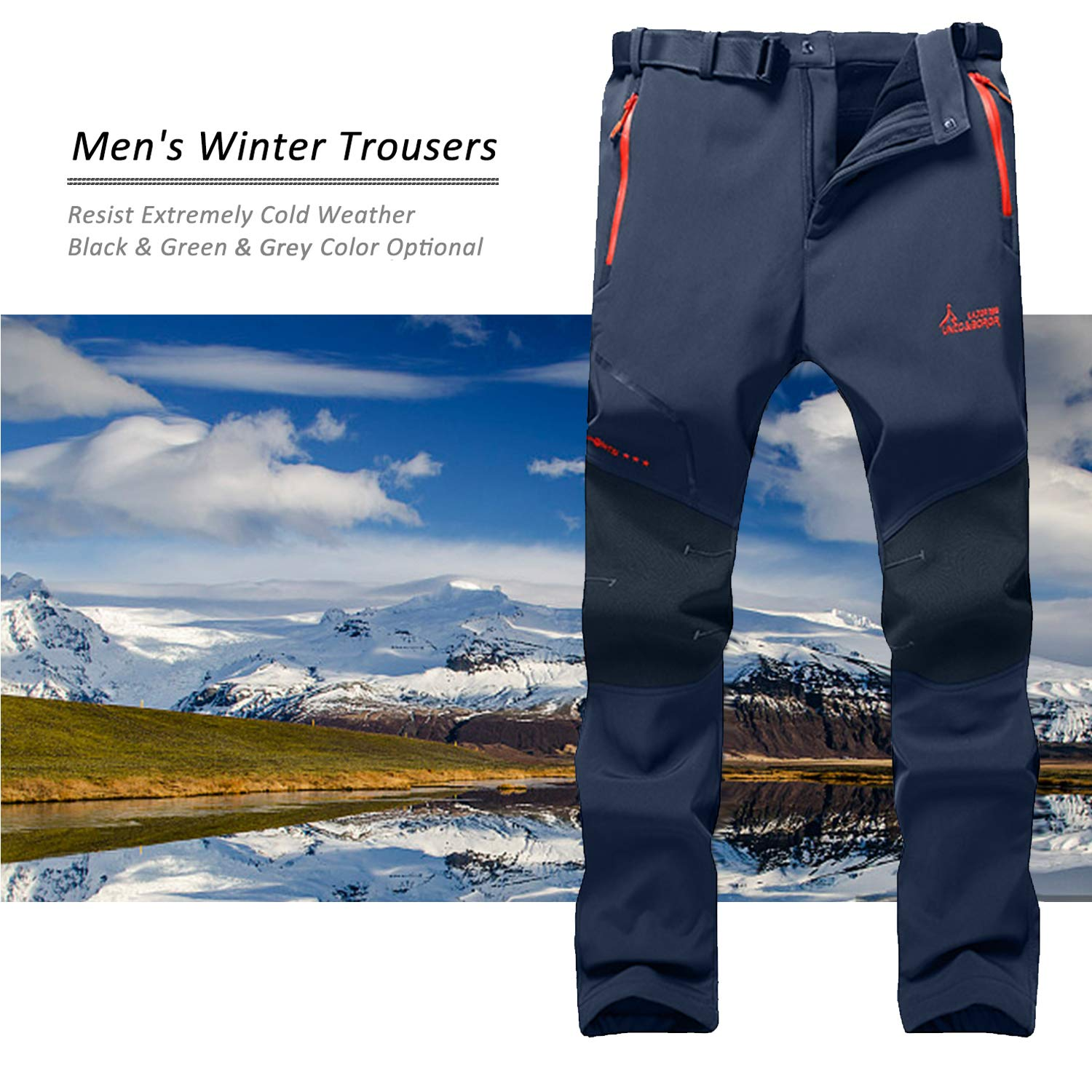 7VSTOHS Mens Outdoor Fleece Lined Winter Hiking Trousers Windproof Water-Resistant Softshell Warm Walking Trousers Casual Climbing Pants