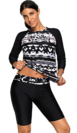 e4df526e6444a 2 PC Long Sleeve Abstract Tankini Top and Shorts Bottom Wetsuit Swimsuit  Set Black S