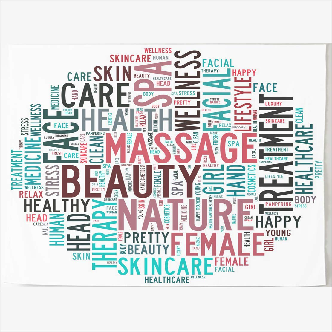 AlliuCoo Tapestry Home Decor 80 x 60 Inches On Massage Spa Infotext Skincare Graphics Concept Abstract Care Fresh Tapestries Wall Hangings Art for Bedroom Living Room Dorm