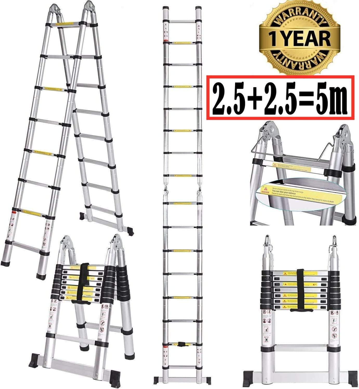 Serface - Escalera plegable telescópica (8 x 8 barras, con juntas de goma de acero antideslizantes, escalera multiusos, de aluminio, capacidad de carga de 150 kg): Amazon.es: Bricolaje y herramientas