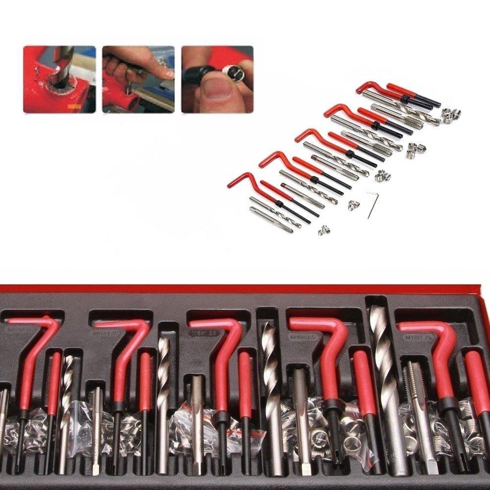 LARS360 131 de piezas para reparaci/ón de roscas Juego Broca Sleeves Helicoil Auto Motor M5 M6 M8 M10 M12 Rosca H/ülse Herramientas Kit