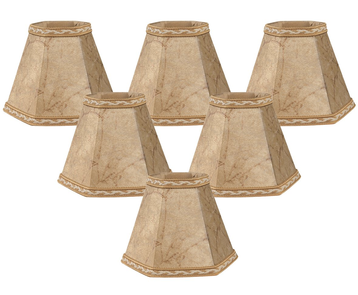 Royal Designs 5'' Faux Rawhide Hexagon Empire Chandelier Lamp Shade, Set of 6, 2.5 x 5 x 4.5 (CS-605FS-6)