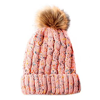 abbe7717b95 Womens Pink Multi Cable Knit Beanie Hat with Brown Faux Fur Pompom   Amazon.co.uk  Clothing