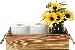 Wooden Toilet Tank Box, Rustic Bathroom Decor Box, Toilet Paper Holder Basket, Wood Tissue Holder, Decorative Storage Box For Bathroom, Countertop, Bedroom Dresser(Brown)