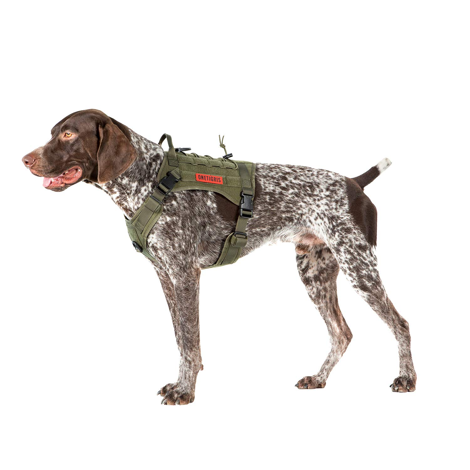 OneTigris Tactical Service Dog Vest - Water-Resistant Comfortable Military Patrol K9 Dog Harness with Handle (Medium, Ranger Green) by OneTigris