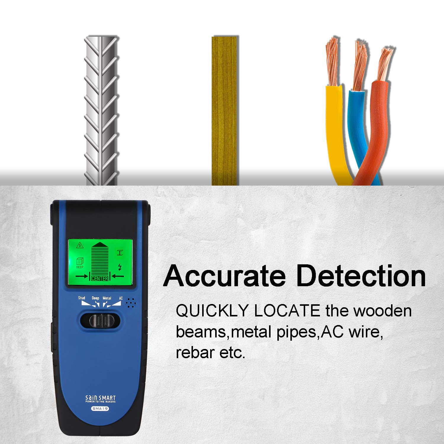SainSmart ToolPAC SMA19 Stud Finder Wall Scanner Electric Multi-function Wall Detector for Studs/Wood/Metal/Live AC Wires Detection, with Center Finding ...