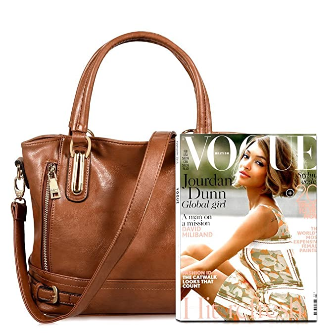 cd469e9cdd8 Buy Di Grazia Women s Handbags(Royal Brown brown-big-leather-bag) Online at Low  Prices in India - Amazon.in