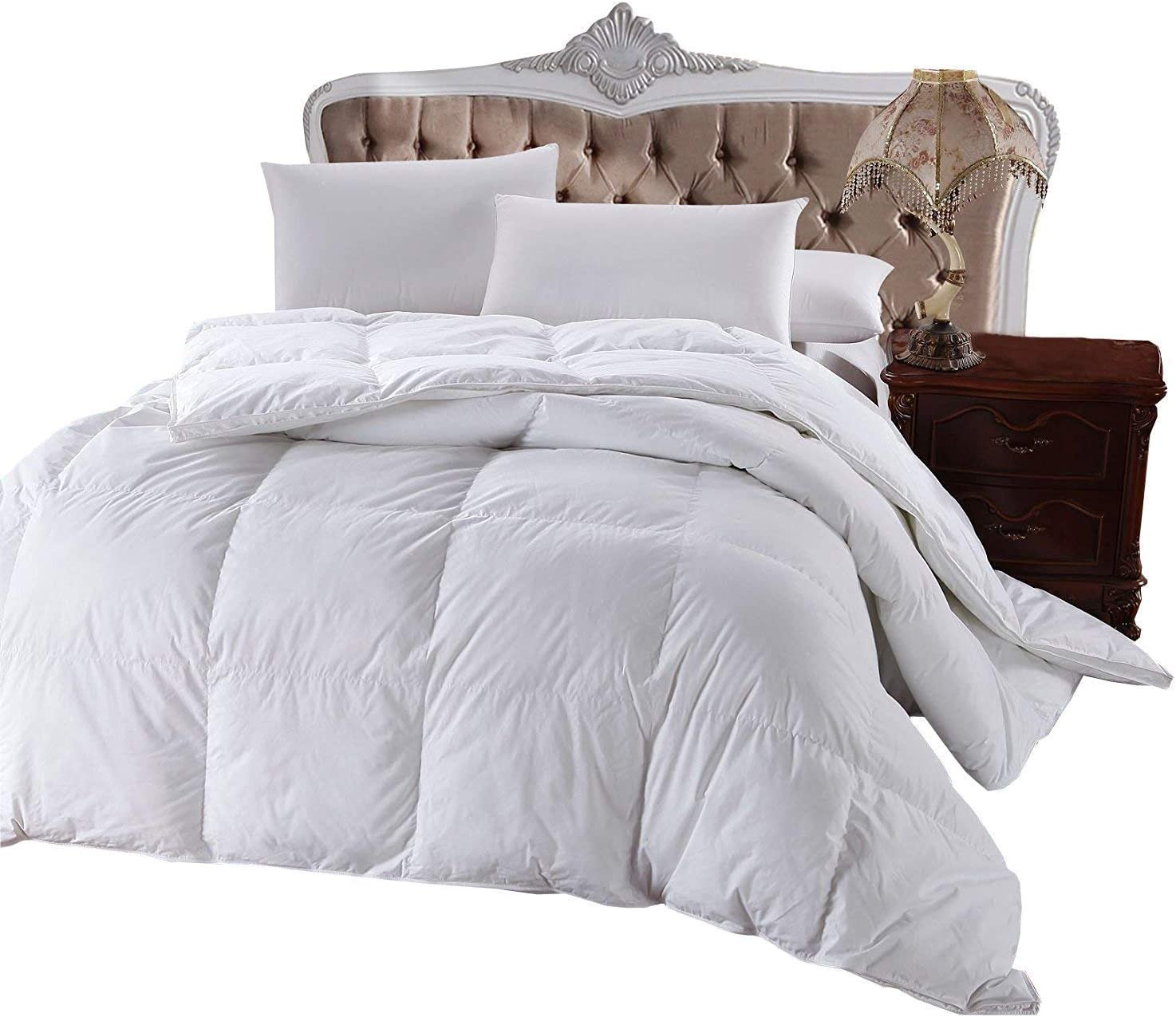 Royal Hotel's 300 Thread Count King Size Goose Down Alternative Comforter, Overfilled Comforter, Duvet Insert 100% Cotton Shell - 750FP - 86Oz - Solid White, King: Home & Kitchen