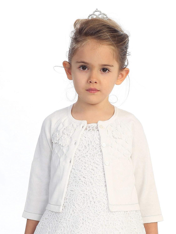 Baby Girls White Flower Applique Adorned Cotton Long Sleeve Bolero 3-24M