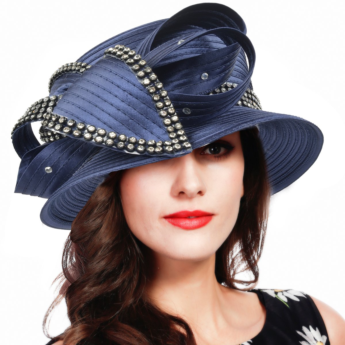 FORBUSITE Stripe Ribbon Asymmetry Church Derby Dress Hat SD707 (Navy) by FORBUSITE (Image #1)