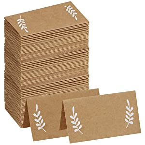 Supla 100 Pcs Place Cards with White Laurel Leaves Kraft Paper Cards Rustic Wedding Table Name Number Blank Table Tent Cards Table Name Tags Table Card Seating Cards Buffet Table Cards