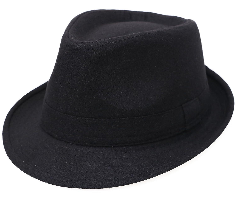 Men's Classic Manhattan Structured Gangster Trilby Fedora Hat Black