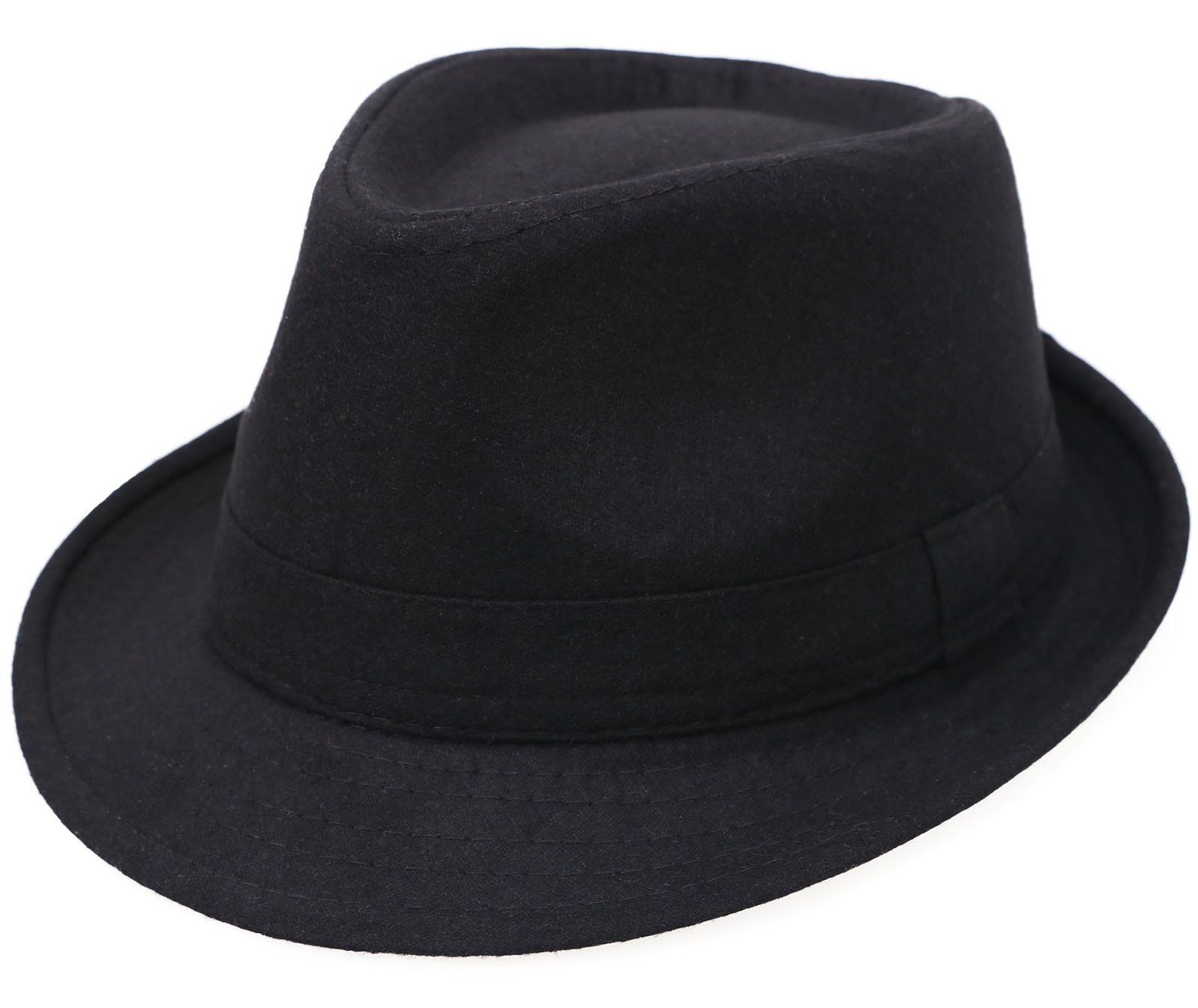 Men's Classic Manhattan Structured Gangster Trilby Fedora Hat, Black by YoungLove (Image #1)