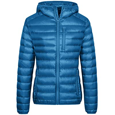 Wantdo Women's Lightweight Packable Down Jacket Hooded Insulated Puffer Coat: Clothing