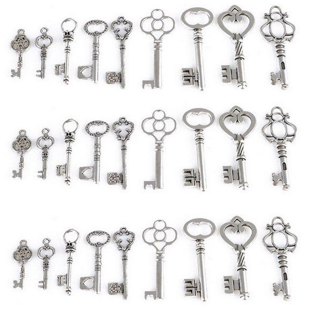 27/esqueleto clave encanto Set en color plateado envejecido 9/diferentes estilos/ /Vintage estilo clave charms plata