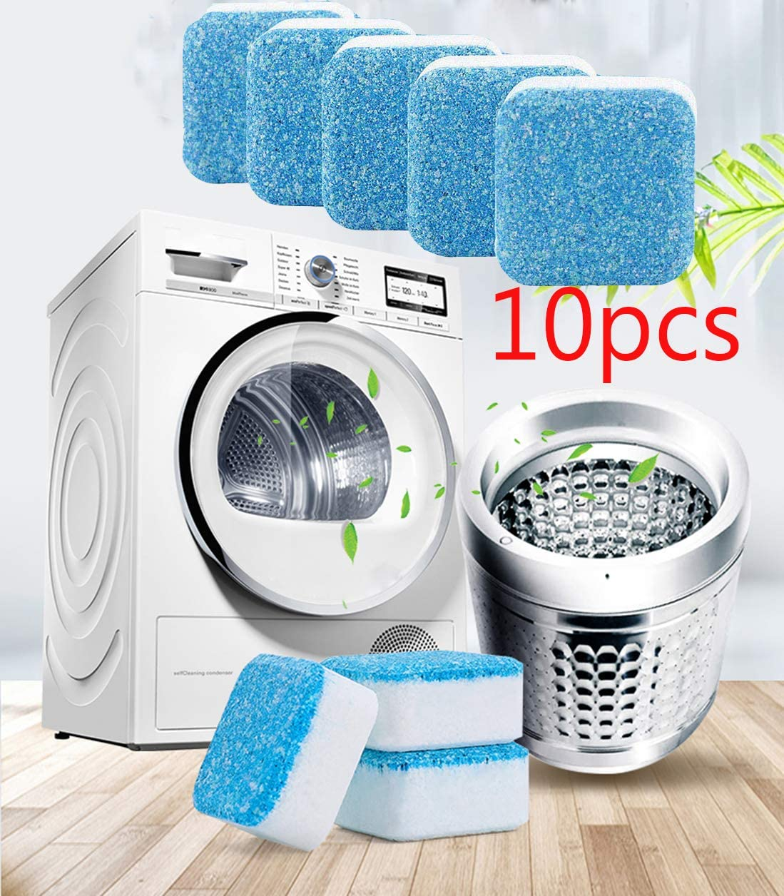 Effervescent Tablet Washing Machine Cleaner, Cleaning deep Remover, Solid Washing Machine Cleaner with Triple decontamination Function, Suitable for Bathroom Kitchen (10 pcs)