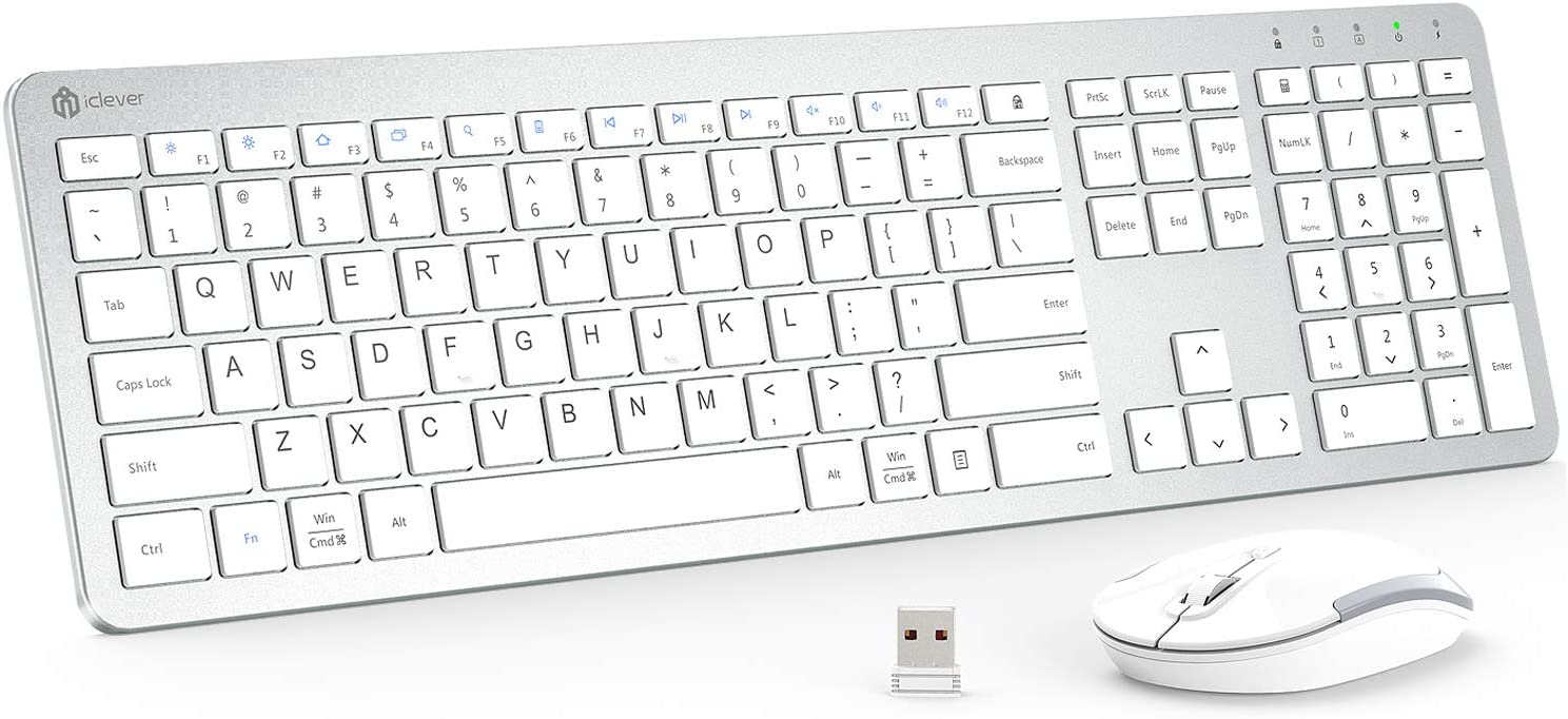 iClever GK08 Wireless Keyboard and Mouse - Rechargeable Wireless Keyboard Ergonomic Full Size Design with Number Pad, 2.4G Stable Connection Slim White Keyboard and Mouse for Windows, Mac OS Computer