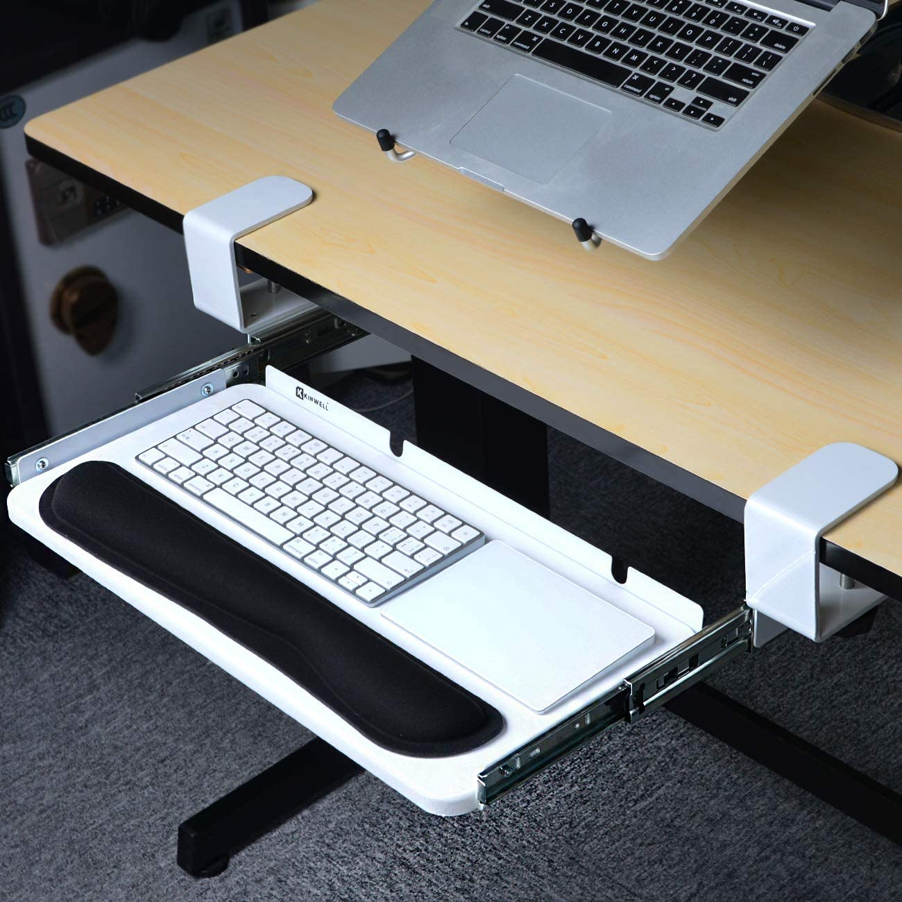 Beschan Ergonomics Under Table Keyboard Tray Super Easy Clamp on Mechanism Memory Foam Wrist Rest Straps White, 20 Inch
