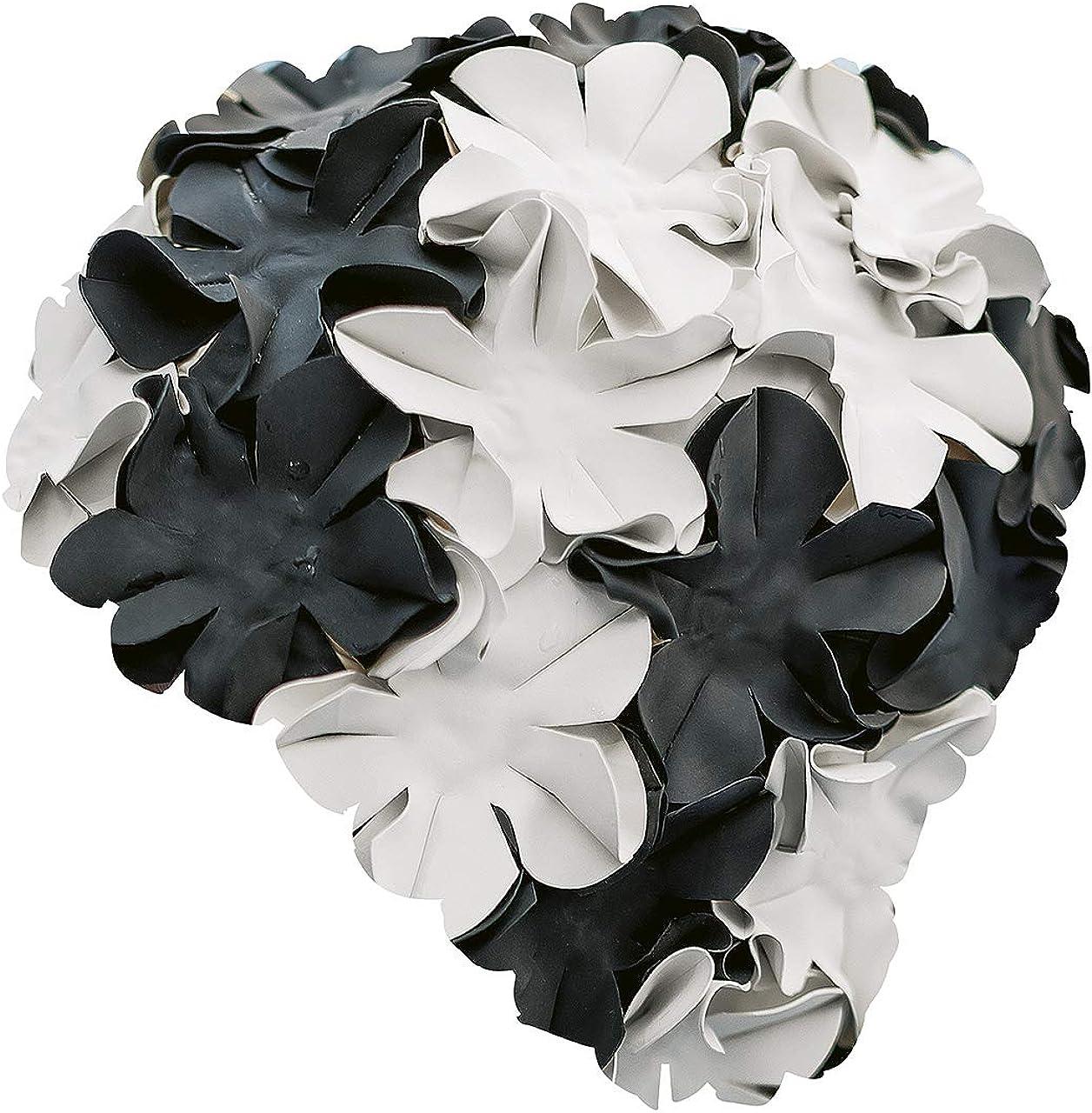 Fashy Negro - Gorro de baño de natación, Color Negro/Blanco