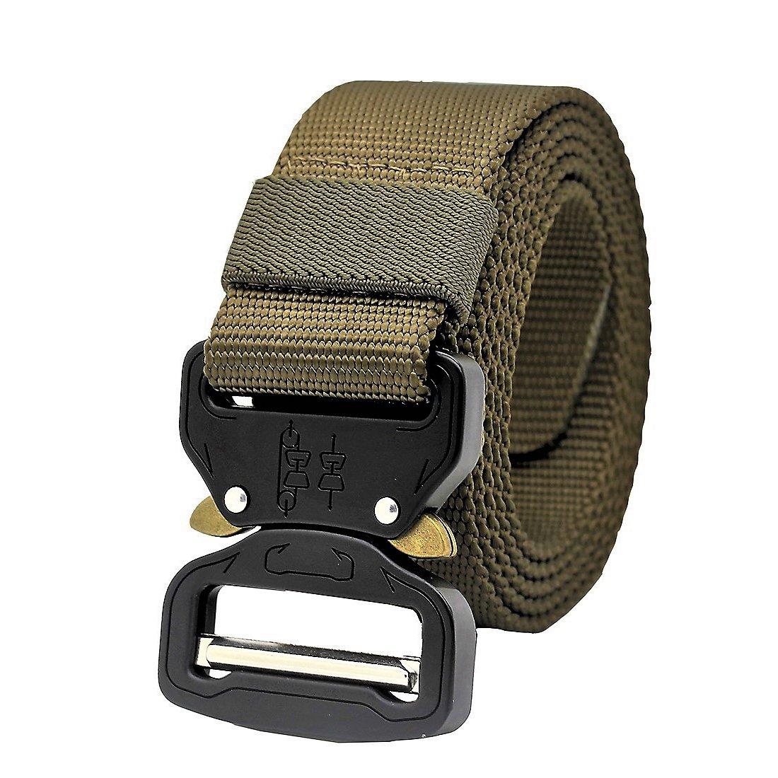 MOLLE Tactical Belt CQB Rigger Waistbelt Rappel Battle Adjustable Military Webbing Band Nylon Outdoor Heavy Duty Metal Buckle Mens EDC Belt (Black) GRULLIN