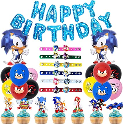 Amazon Com 76 Pack Sonic Hedgehog Birthday Decorations Party Supplies Included Sonic Birthday Party Banner Balloons Cupcake Toppers And Silicone Bracelet Shoe Charms Party Favors Toys Games