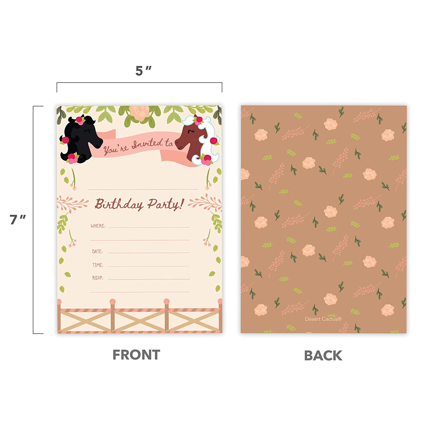 10ct Pony Style 3 Happy Birthday Invitations Invite Cards With Envelopes Boys Girls Kids Party 10 Count