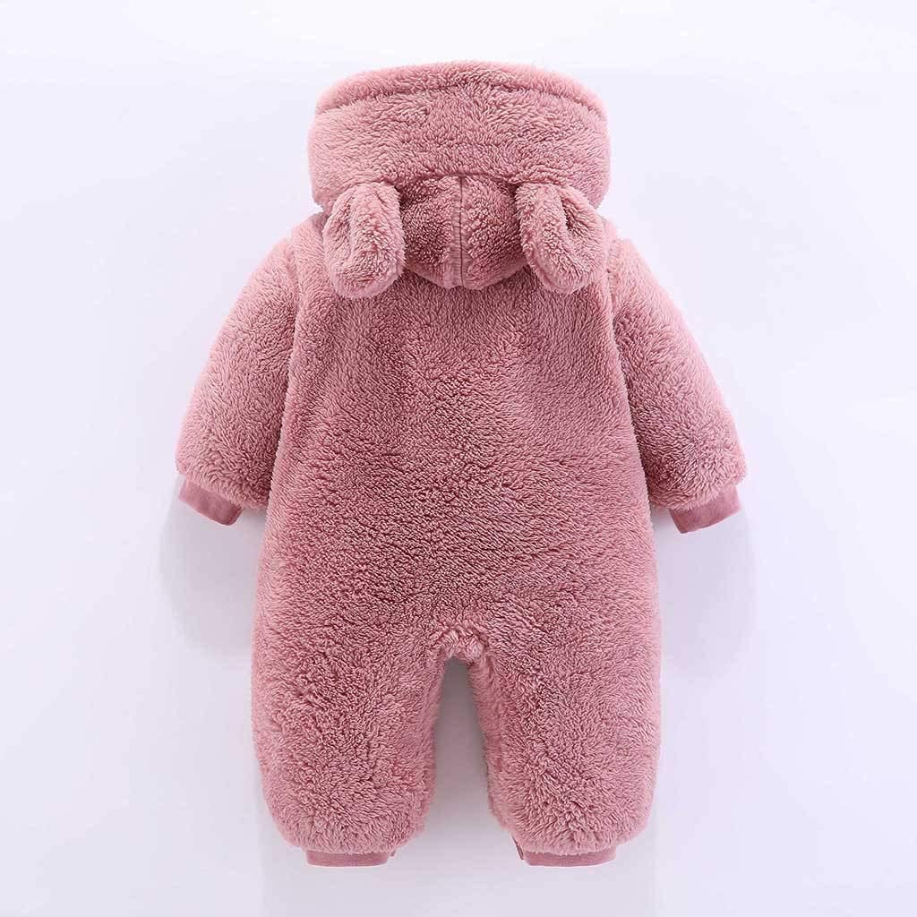 Longra Baby Kleidung Fleecestrampler Langarm Strampler mit Kapuze Winter Jumpsuit Neugeborenes Baby /übergangsjacke babyjacken