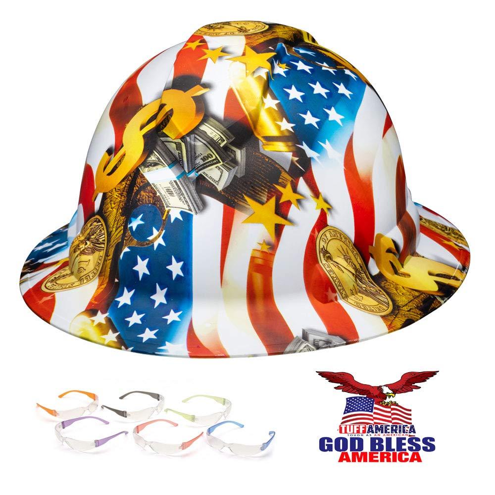 Full Brim Pyramex Hard Hat, Hydrodipped American Flag Money Design Safety Helmet 4pt + 6 Pairs Safety Glasses + American Flag Decal, by AcerPal by ACERPAL