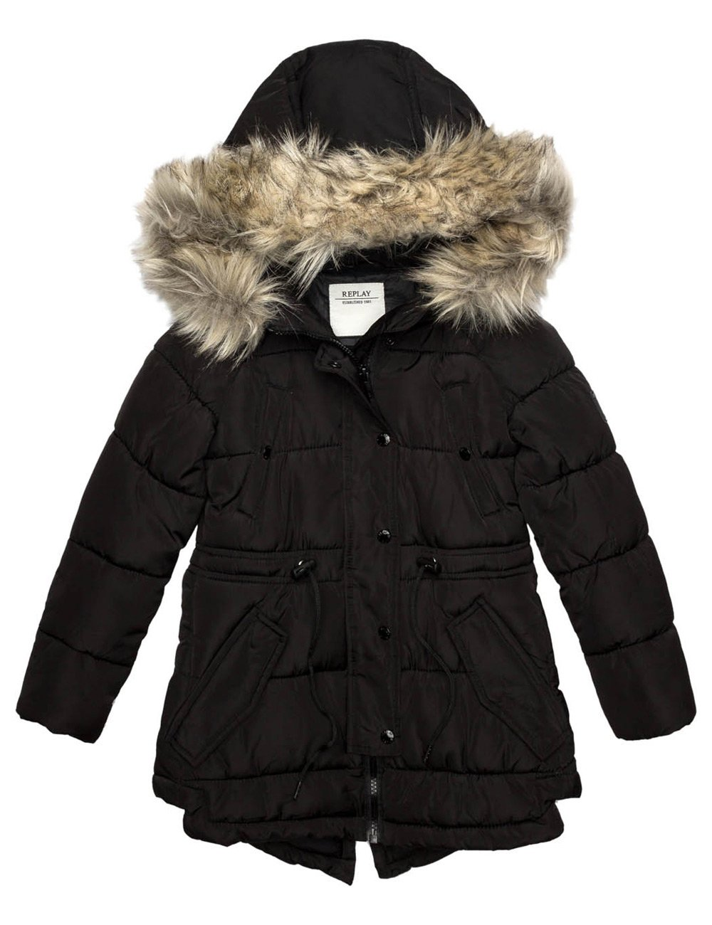 Replay Girls Black Quilted Jacket With Faux Fur Hood in Size 12 Years Black