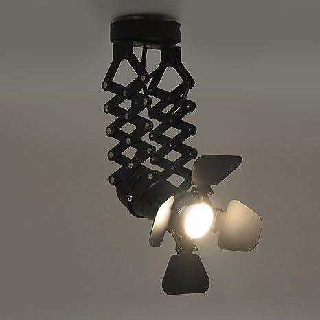 BarcelonaLED Lámpara Vintage Fuelle Extensible Techo Colgante Negro para Bombilla GU10 Diseño Cámara Cine Antigua Retro Negocio Escaparate Decoración ...