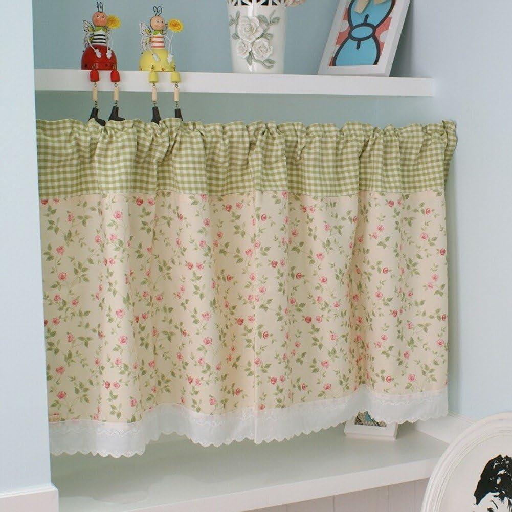 QWASFCDS Gardinen,Die Hälfte eine Kurze Küche Vorhang Vorhangstoff Bad  Fenstervorhang-C 11x11cm(11x11inch)