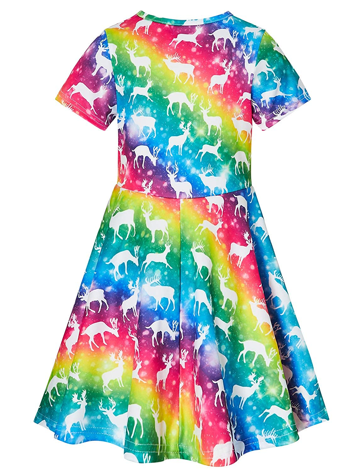 RAISEVERN Ugly Christmas Dress Girls Short Sleeve Dress for Holiday Party