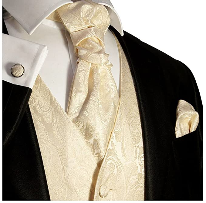 Victorian Men's Tuxedo, Tailcoats, Formalwear Guide Champagne Paisley Wedding Vest Set by Paul Malone $59.97 AT vintagedancer.com
