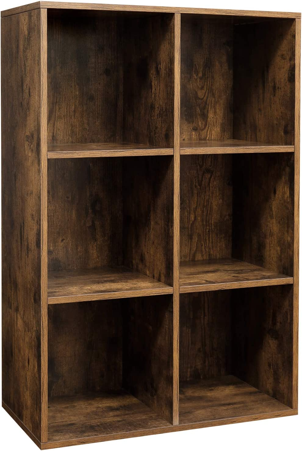 VASAGLE 6-Cube Bookcase, Display Rack for Trinkets, Souvenirs, Potted Plants, for Study Room, Office, Living Room, 65.5 x 30 x 97.5 cm, Rustic Brown LBC203BX