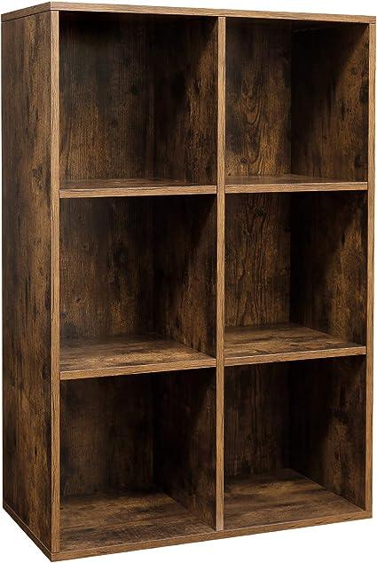 VASAGLE Librería de 6 Cubos, Estantería de Exposición para Sala de Estar, Estudio, Oficina, 65,5 x 30 x 97,5 cm, Marrón Rústico LBC203BX