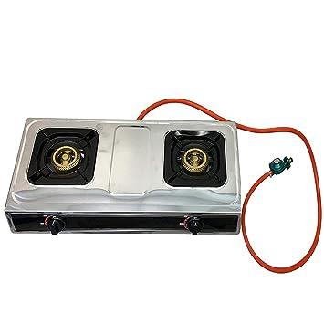 # 1 doble quemador estufa quemador de gas propano estufa de cristal templado que hierva escritorio estilo Whirlwind campamento cocina: Amazon.es: Hogar