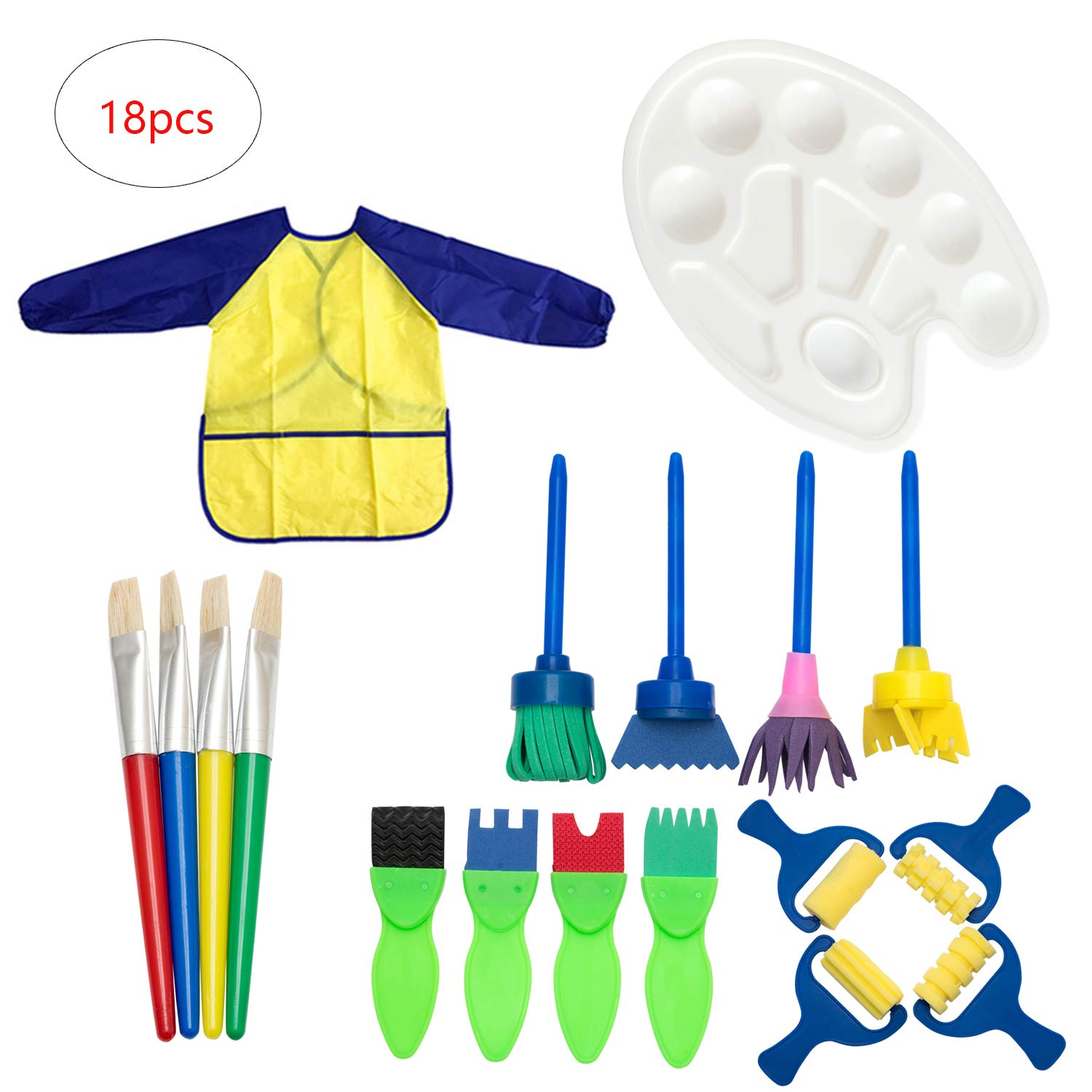 YINASI Paint Sponges for Kids, 18pcs Painting Brushes Art Supplies Set with Palette,Smock and Rollers Brush DIY Craft Drawing Toy for Boys and Girls by YINASI