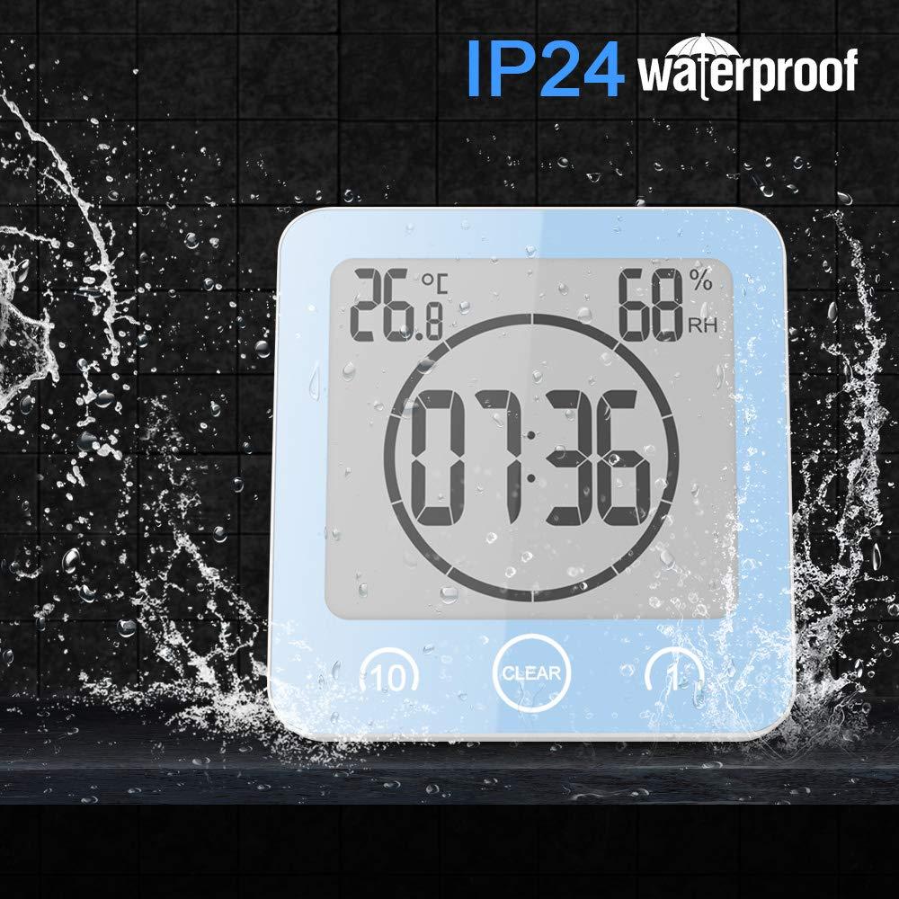 Alarme Tactile avec minuterie de contr/ôle Winbang Horloge de Salle de Bain LCD Horloge num/érique dhumidit/é de la temp/érature