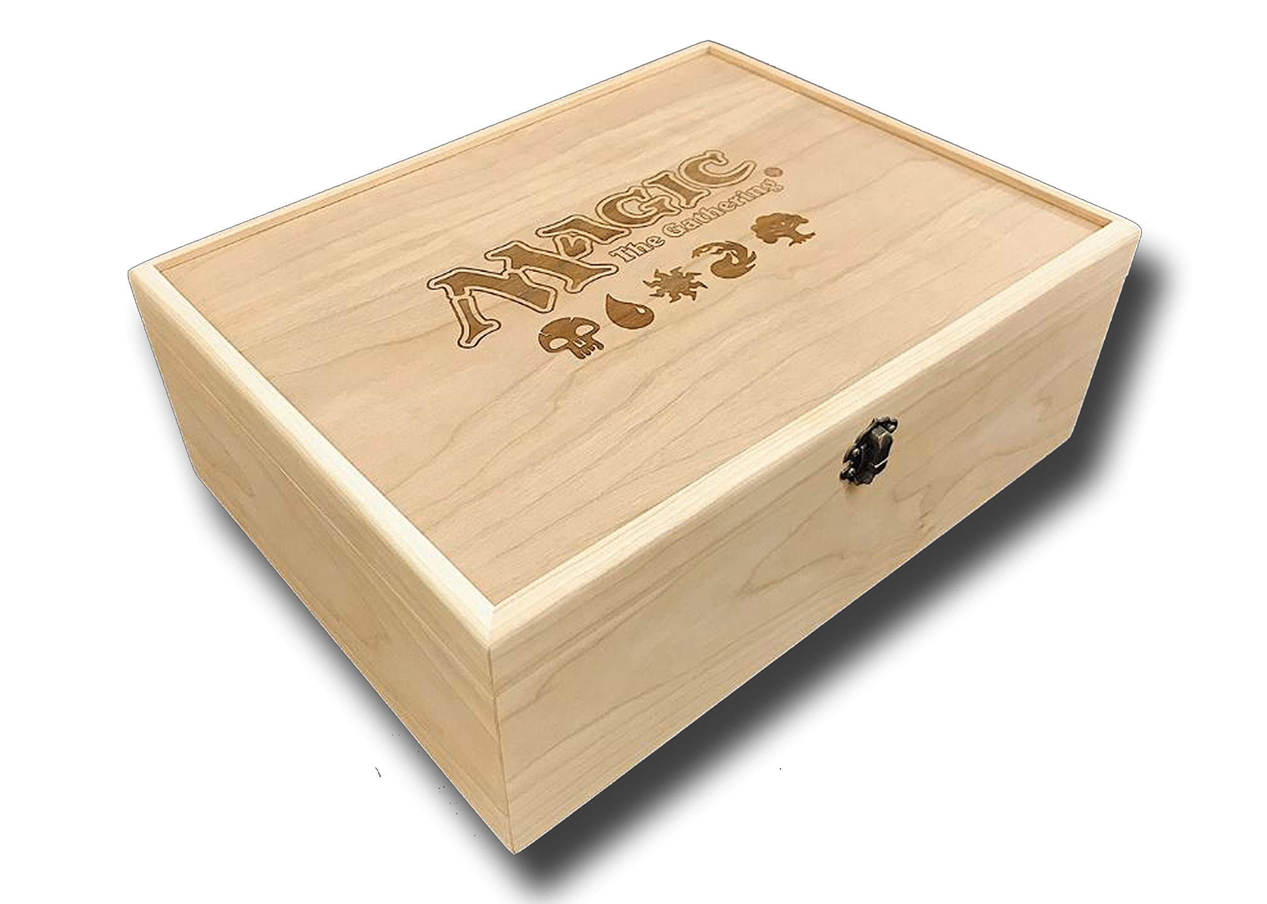 Designcraft Industries Magic The Gathering Engraved Deck Box with Hinges & Latch-13 3/8 x 10 1/4 x 4 3/4- Cherry Box