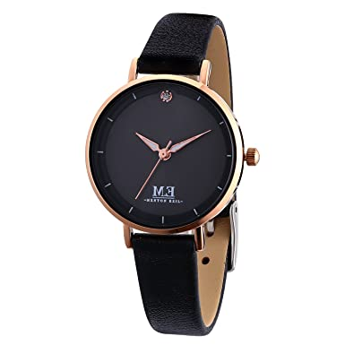 M.E Women Quartz Watches, 30M Waterproof Analog Leather Strap Wrist Watch, Casual Simple Dress