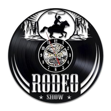 Amazon rodeo wild west cowboy vinyl wall clock art home decor rodeo wild west cowboy vinyl wall clock art home decor interior design childrens room living bedroom teraionfo